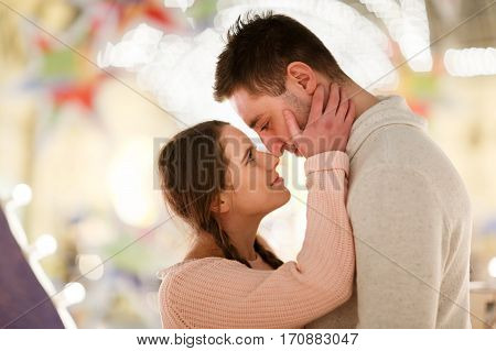 Romantic encounter young loving couple in shopping center