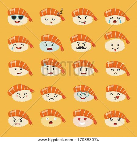 Sashimi emoji vector set. Emoji sushi with faces icons. Sushi roll funny stickers. Food cartoon style. Vector illustration isolated on yellow background