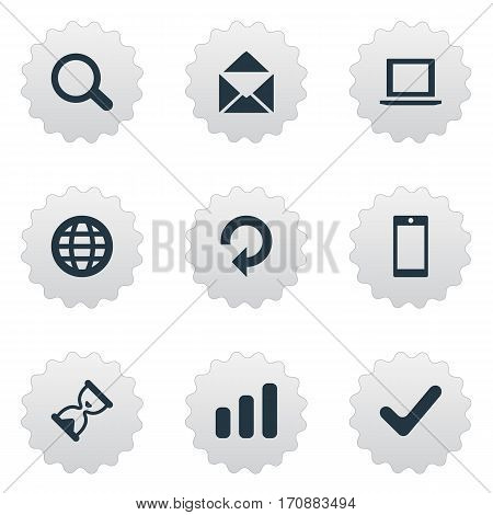 Set Of 9 Simple Apps Icons. Can Be Found Such Elements As Web, Envelope, Smartphone And Other.