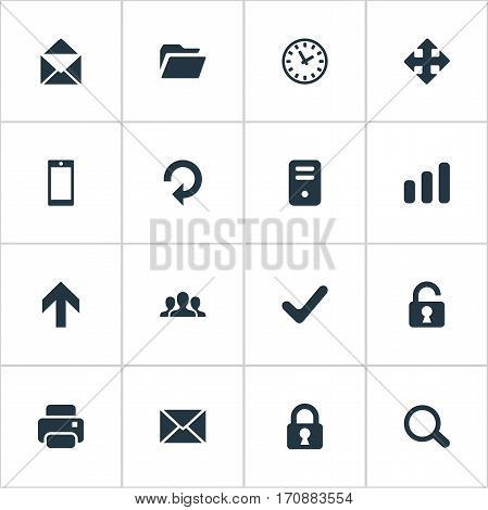 Set Of 16 Simple Apps Icons. Can Be Found Such Elements As Printout, Refresh, Community And Other.