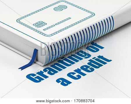 Currency concept: closed book with Blue Credit Card icon and text Granting of A credit on floor, white background, 3D rendering
