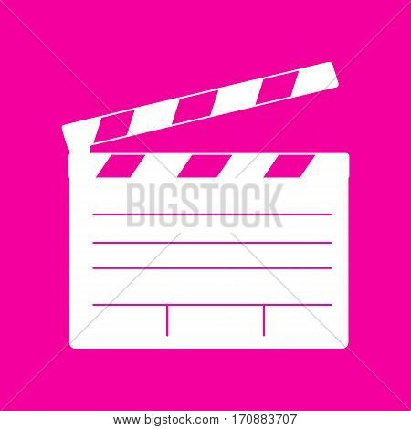 Film clap board cinema sign. White icon at magenta background.