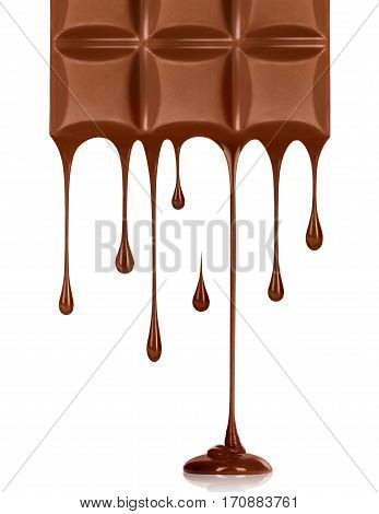 Chocolate dripping from chocolate bar on white background