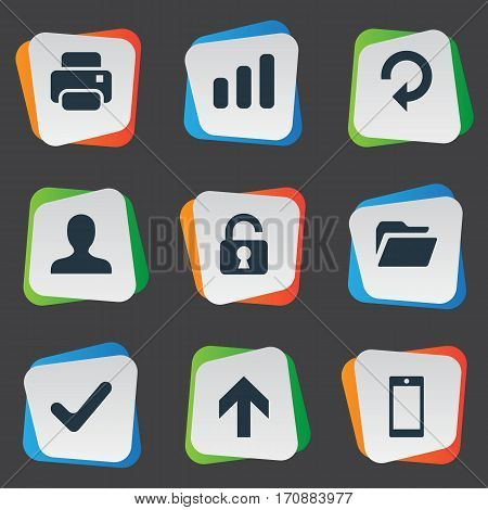 Set Of 9 Simple Practice Icons. Can Be Found Such Elements As Statistics, User, Open Padlock And Other.