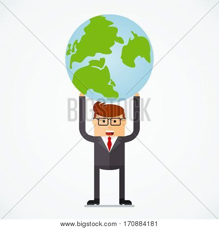 Successful businessman with earth, business situation concept. Working in office, desire to succeed, teamwork and management. Flat vector cartoon illustration. Objects isolated on white background.