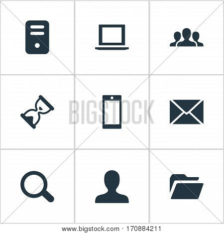 Set Of 9 Simple Application Icons. Can Be Found Such Elements As Magnifier, User, Notebook And Other.