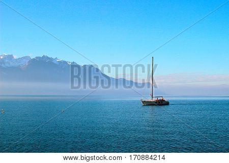 romantic walk on a yacht on Lake Geneva.Montreux.