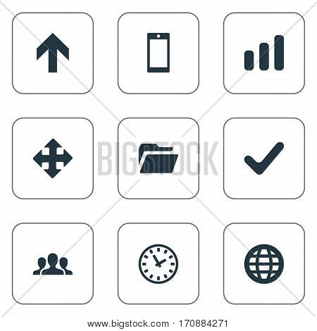 Set Of 9 Simple Application Icons. Can Be Found Such Elements As Community, Upward Direction, Arrows And Other.