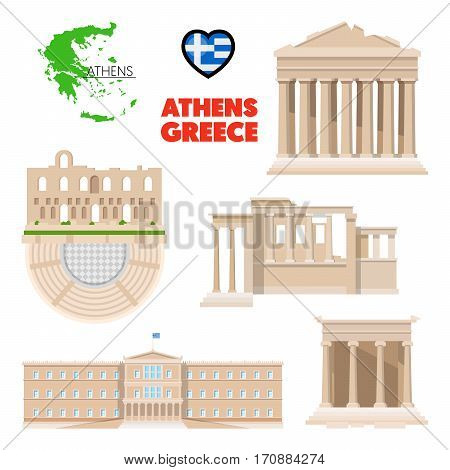 Greece Athens Travel Set with Architecture and Flag. Vector illustration