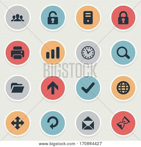 Set Of 16 Simple Practice Icons. Can Be Found Such Elements As Computer Case, Check, Open Padlock And Other.