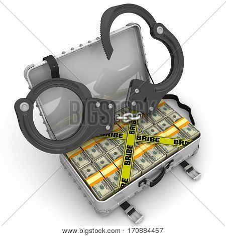 Bribe. Suitcase full of money with handcuffs. A suitcase filled with packs of American dollars with handcuffs and yellow tapes with text