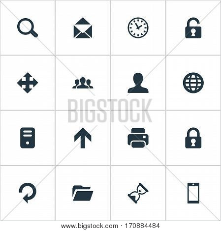 Set Of 16 Simple Practice Icons. Can Be Found Such Elements As Community, Upward Direction, Refresh And Other.