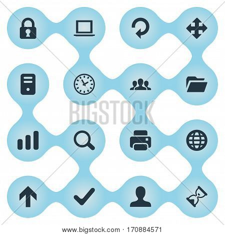Set Of 16 Simple Apps Icons. Can Be Found Such Elements As Notebook, Computer Case, User And Other.