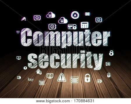 Security concept: Glowing text Computer Security,  Hand Drawn Security Icons in grunge dark room with Wooden Floor, black background