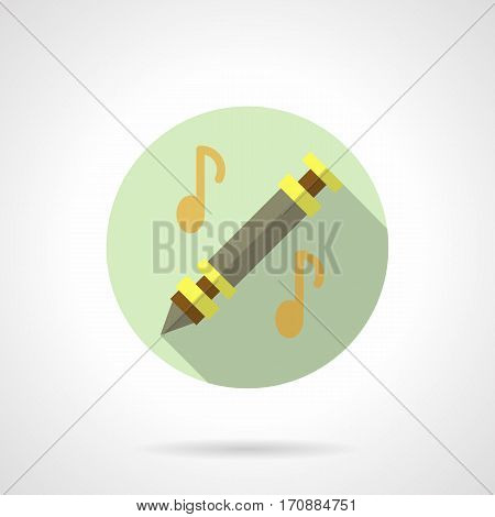 Abstract gray flute with yellow elements and two golden notes, long shadow design. Woodwind musical instruments. Music education. Stylish round flat color vector icon.