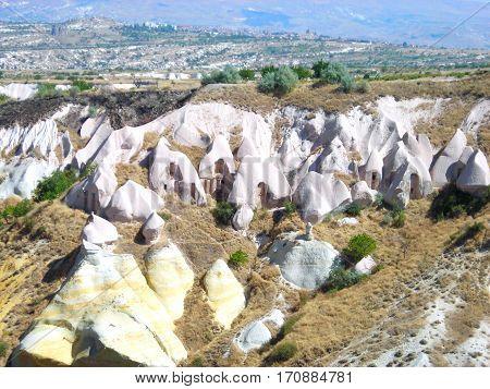 Cappadocia is famous for strange looking rock formations. Splendour of lunar landscape.