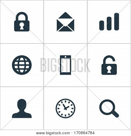 Set Of 9 Simple Apps Icons. Can Be Found Such Elements As Open Padlock, Envelope, Web And Other.