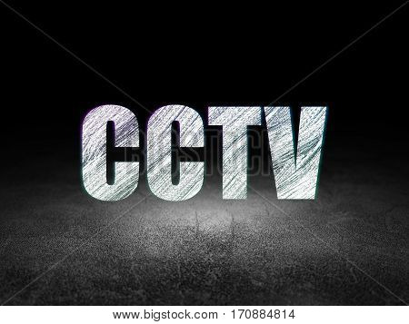 Protection concept: Glowing text CCTV in grunge dark room with Dirty Floor, black background