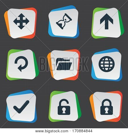 Set Of 9 Simple Application Icons. Can Be Found Such Elements As Lock, Arrows, Open Padlock And Other.
