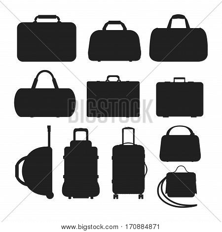 Travel tourism fashion baggage and vacation handle leather big packing briefcase. Voyage destination bag silhouette. Journey suitcase departure vector.