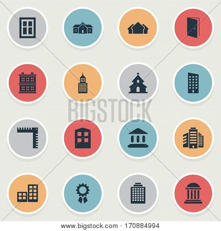 Set Of 16 Simple Construction Icons. Can Be Found Such Elements As Residence, Floor, Academy And Other.