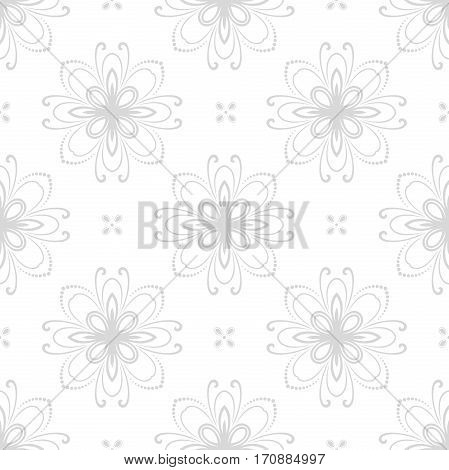 Floral ornament. Seamless abstract classic pattern with flowers. Light silver pattern