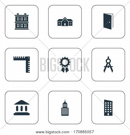 Set Of 9 Simple Construction Icons. Can Be Found Such Elements As Structure, Block, Gate And Other.