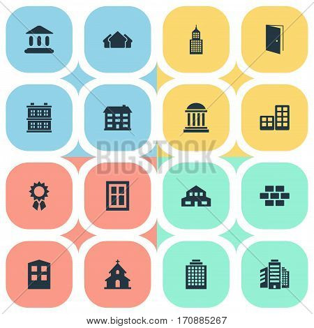 Set Of 16 Simple Construction Icons. Can Be Found Such Elements As Stone, Popish, Glazing And Other.