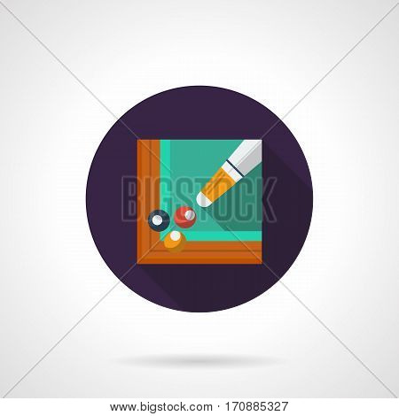 Symbol for billiards tournament or sport club. Pool table corner with cue and three colored balls in a hole. Round flat design vector icon.