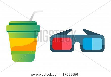 Take out drink cup with straw and cinema glasses. Fresh beverage plastic container takeaway paper cold unhealthy fast food container vector illustration.