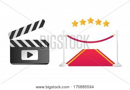 Clapper board red road vector illustration. Movie action black camera clap. Cinematography hollywood production director wooden shot blank equipment.