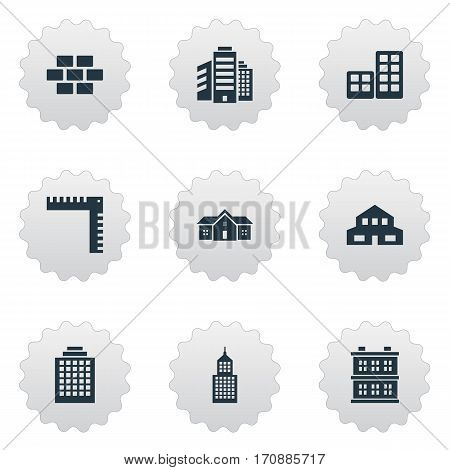 Set Of 9 Simple Architecture Icons. Can Be Found Such Elements As Stone, Superstructure, Block And Other.