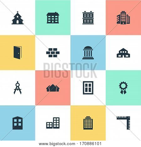 Set Of 16 Simple Structure Icons. Can Be Found Such Elements As Offices, Stone, Popish And Other.
