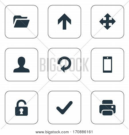 Set Of 9 Simple Practice Icons. Can Be Found Such Elements As Printout, Dossier, Open Padlock And Other.