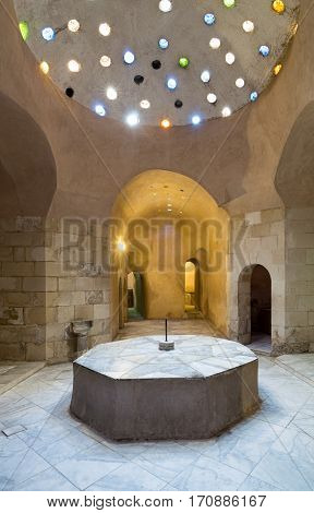 Interior of historical traditional bathhouse (Hamam Inal) Medieval Cairo Egypt