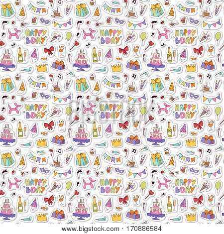 Celebratory seamless pattern with gifts, balloons, confetti, hearts. Happy birthday celebration decoration background. Party fun wallpaper greeting paper.