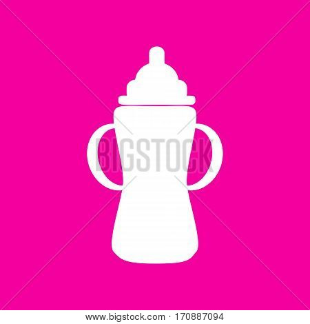 Baby bottle sign. White icon at magenta background.