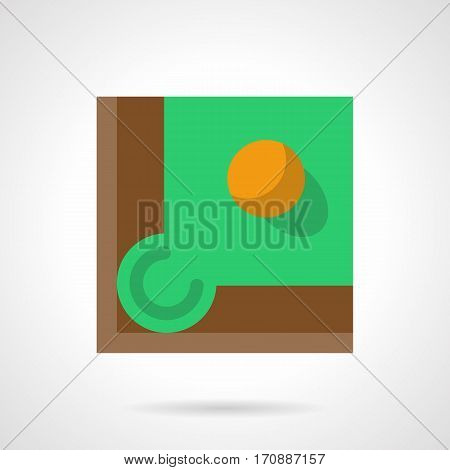 Pool table with green felt and yellow ball near a corner hole. Billiard games symbol. Stylish square flat design vector icon with long shadow.