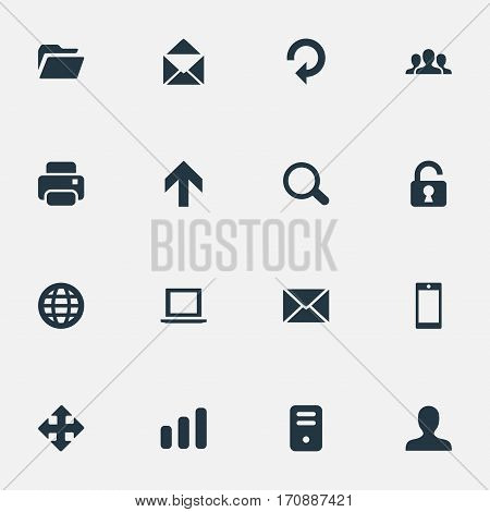 Set Of 16 Simple Application Icons. Can Be Found Such Elements As User, Dossier, Notebook And Other.