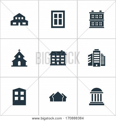 Set Of 9 Simple Construction Icons. Can Be Found Such Elements As Construction, School, Block And Other.