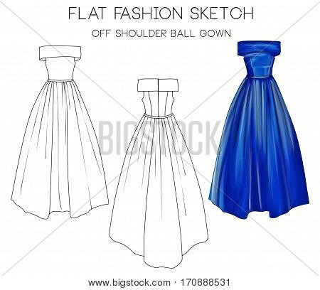 Flat fashion sketch of formal ball gown