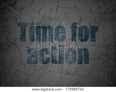 Timeline concept: Blue Time For Action on grunge textured concrete wall background