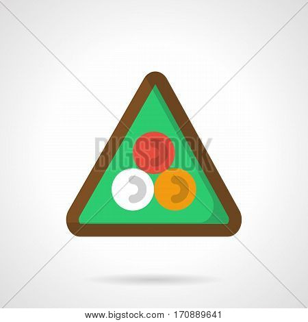 White, red and yellow balls on green in triangle rack. Equipment, tools and accessories for pool, snooker and other games. Symbol for billiard club. Flat color style vector icon.