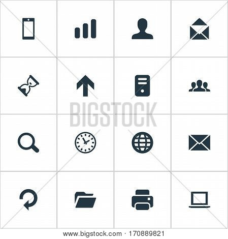 Set Of 16 Simple Application Icons. Can Be Found Such Elements As Watch, Magnifier, Community And Other.