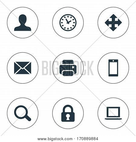 Set Of 9 Simple Apps Icons. Can Be Found Such Elements As User, Watch, Magnifier And Other.