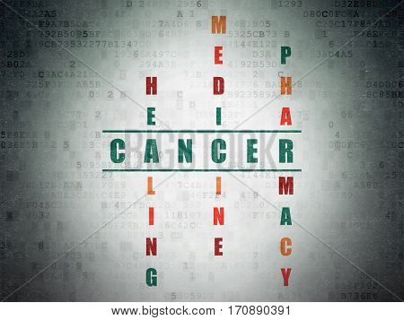 Healthcare concept: Painted green word Cancer in solving Crossword Puzzle on Digital Data Paper background