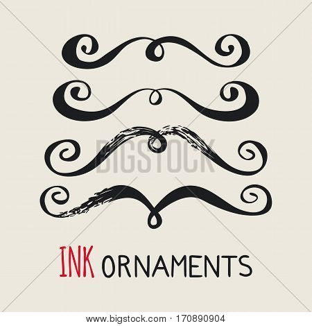 Ink ornaments. Hand painted moustache dividers. Graphic design element for web sites, stationary printables, fabric, scrapbooking etc. Vector illustration.