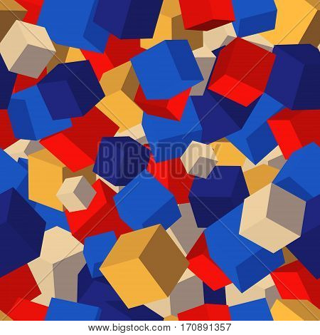 Seamless pattern background with colored cubes. Vector illustration.