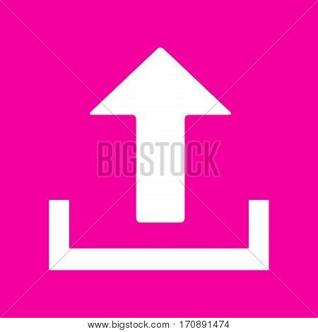 Upload sign illustration. White icon at magenta background.