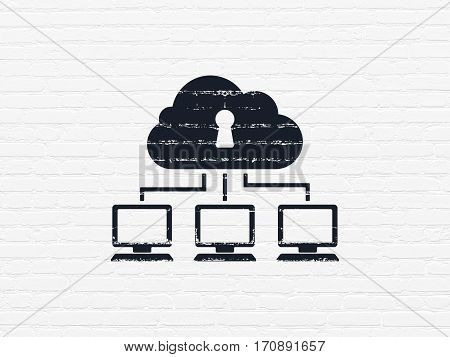 Cloud networking concept: Painted black Cloud Network icon on White Brick wall background